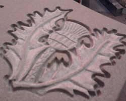Hand carved letters and designs