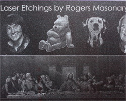 Laser etchings by Rogers Masonry